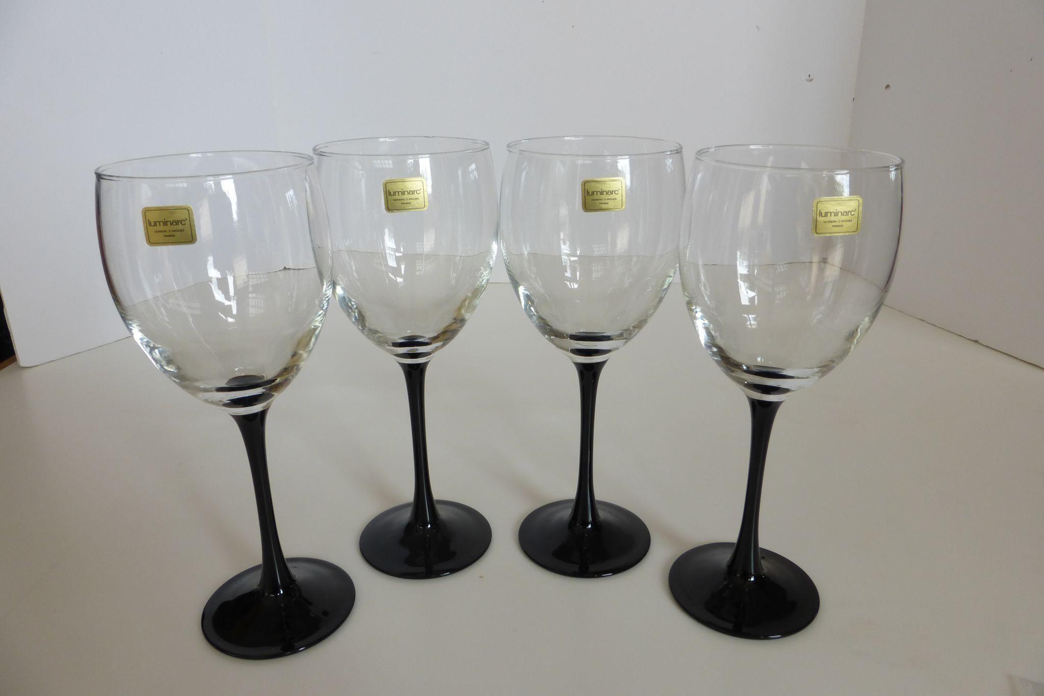 bf4d9431979 Vintage Luminarc France Black Stem Crystal Wine Glasses Set of 4 ...