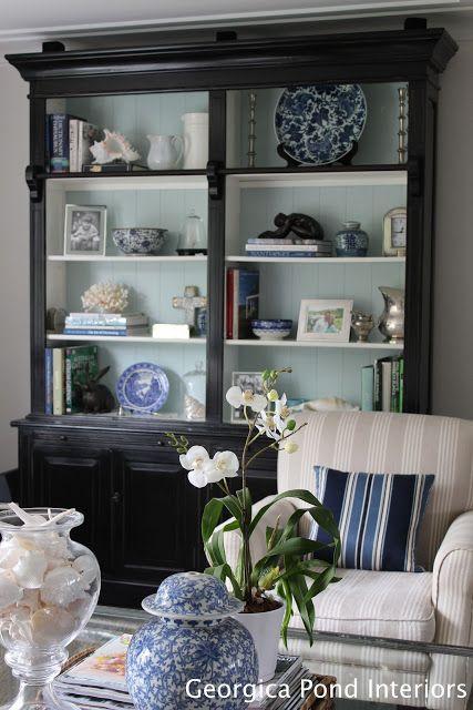 vGEORGICA POND INTERIORS - our living room, blue and white, Hamptons ...