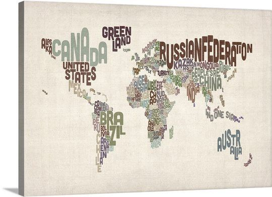 Names World Map Muted Colors on Parchment