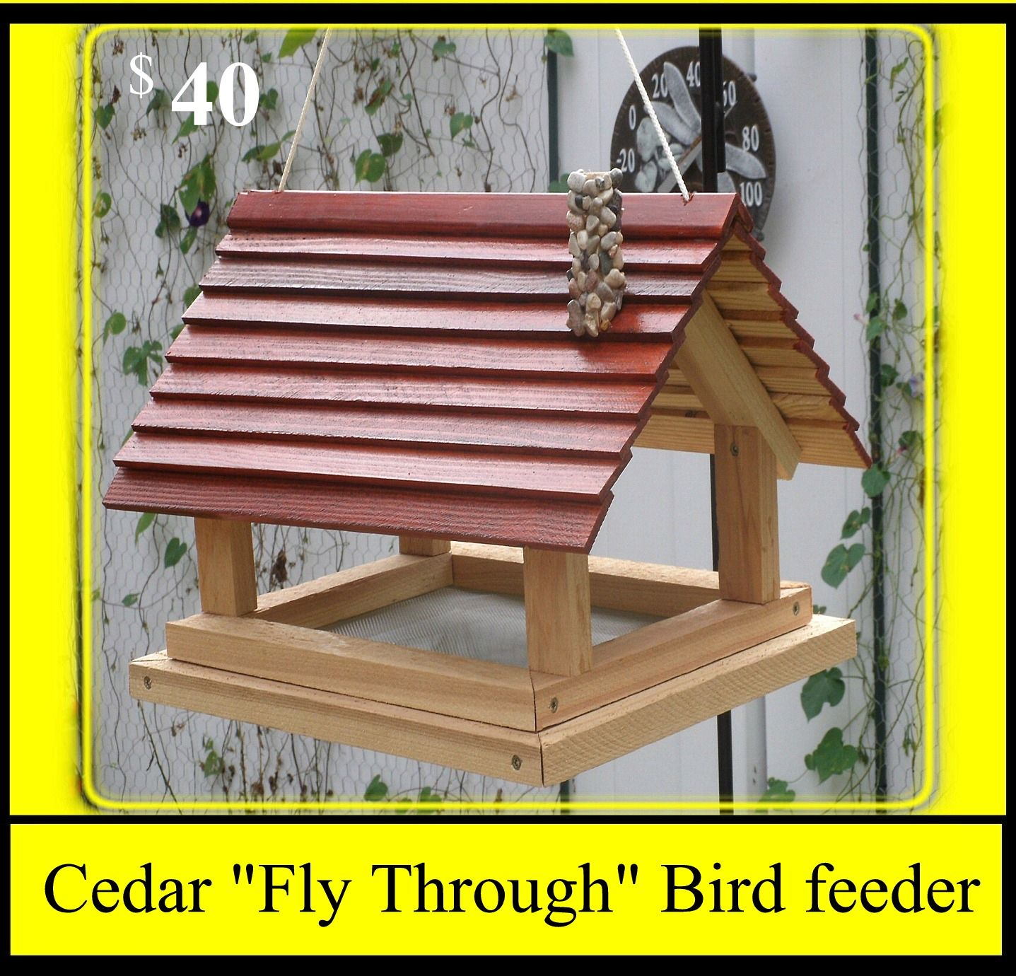 "Cedar ""Fly Through"" Bird Feeder Bird feeders, Bird houses"