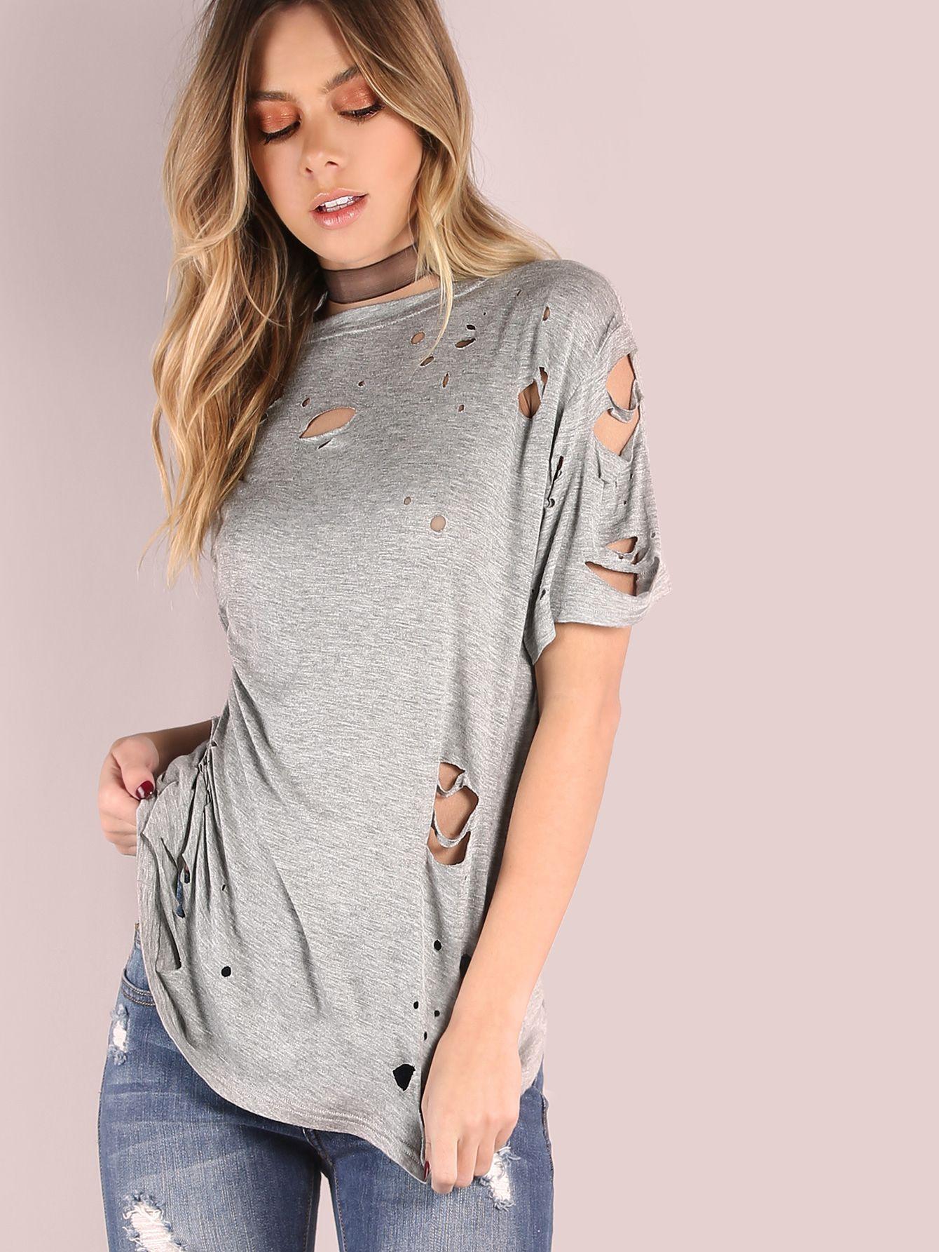 ff5f661517 Heather Grey Short Sleeve Distressed T-shirt -SheIn(Sheinside ...