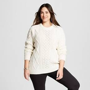 Womens Plus Size Cable Pullover Sweater Merona Target Plus