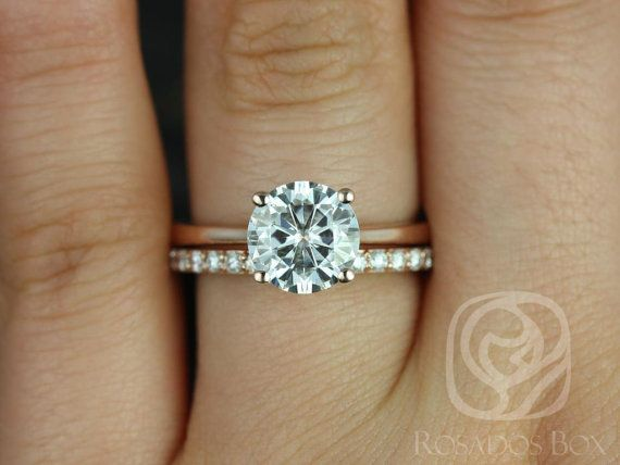 Skinny Flora 8mm & Tiffani 14kt Rose Gold Round FB Moissanite and Diamonds Wedding Set (Other metals and stone options available)