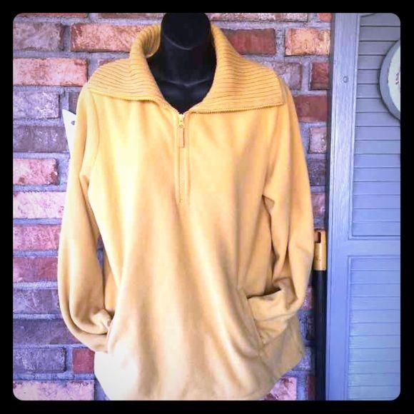 Mustard Fleece Like New! Lands' End Sweaters