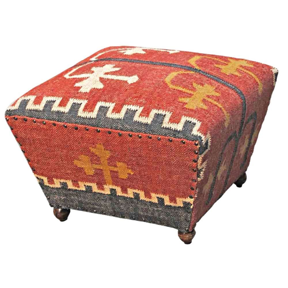 Red Kilim Upholstered Solid Wood Tapered Seat Stool Pouffe Footstool