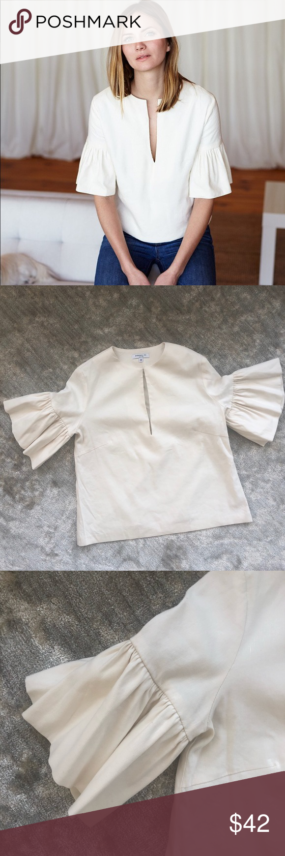 Emerson Fry Mod Ruffle Top Ivory Emerson Fry Mod Ruffle Top, size Medium. EUC.  Wear to work, wear with jeans, a top defined by what you pair it with, adaptable, fun, unique, super comfortable. A t-shirt alternative.   A 60s inspired shape with ruffled bell sleeves. We chose to cut this in a really soft, buttery, slightly structured linen blend.    Front opening 8 with 4 hook and eye  Dry clean only  55% linen, 43% Viscose, 2% stretch  Made in NYC Emerson Fry Tops Blouses #emersonfry