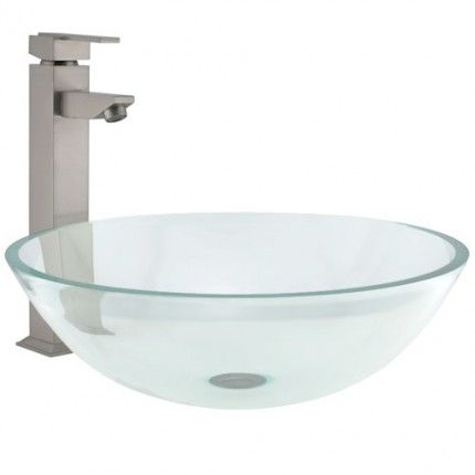 Clear Glass Round Vessel Sink With Flat Rim Bus Pinterest
