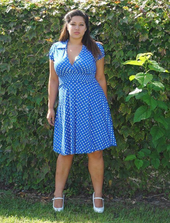 68bee5e607226 Women's Vintage Look Plus Size Dress Royal Blue Polka Dot Rockabilly ...