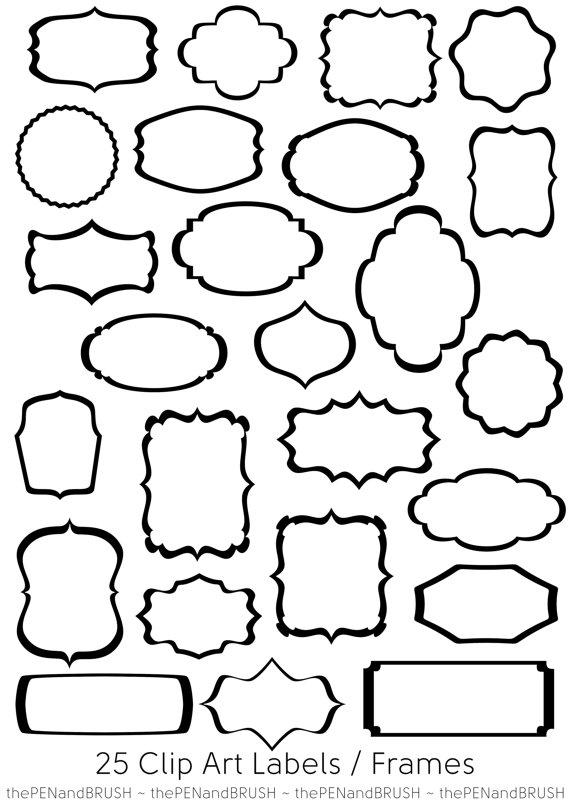 CLIP ART: 25 Label Frames // Transparent Middles // Black Outline ...