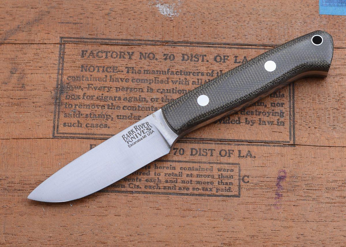 Bark River Knives: Little Creek Knife - Green Canvas
