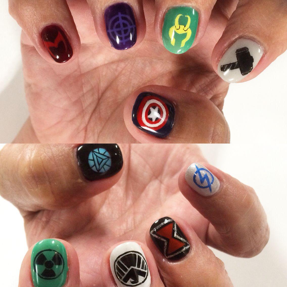 Avengers nail art | I Nailed It (: | Pinterest | Marvel, Marvel ...