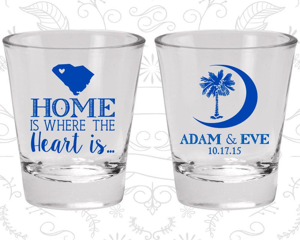 Palmetto Tree Shot Glasses, Wedding Glasses, Crescent Moon, South Carolina Palmetto, Palmetto Moon, Custom Shot Glass (378)
