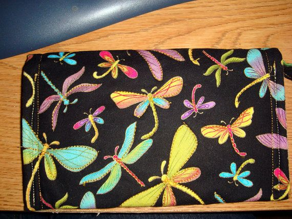 Wallet Wristlet Dragonfly Fabric with gilding by rebeccascreations, $120.00
