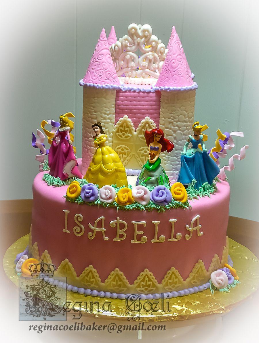 Cool Princess Castle Cake With Images Disney Princess Birthday Personalised Birthday Cards Beptaeletsinfo