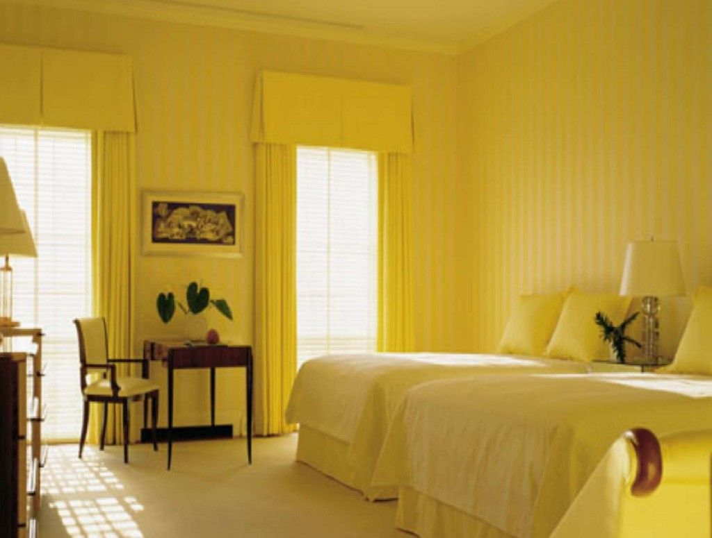 Excellent Yellow Walls Panel Coloring As Beautiful Bedroom Paint ...
