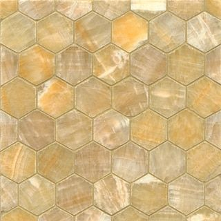 Decorative Polished Sweet Honey Onyx Tiles Of 10 Sheets)With Classic  Hexagon Pattern,Gold,Gives Elegant Look To Any Interior Room Decor