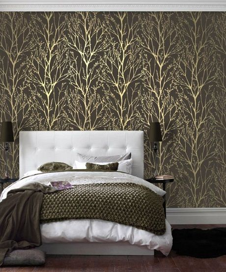 Tan Bedroom With Wallpaper Accent Wall: Bring Some Shimmer Into Your Home This Season