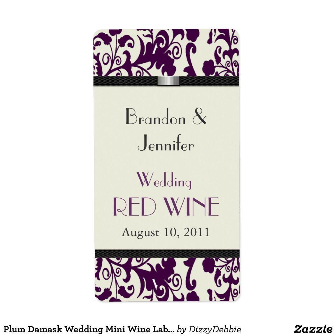 Plum Damask Wedding Mini Wine Labels   Wine / Champagne Bottle ...