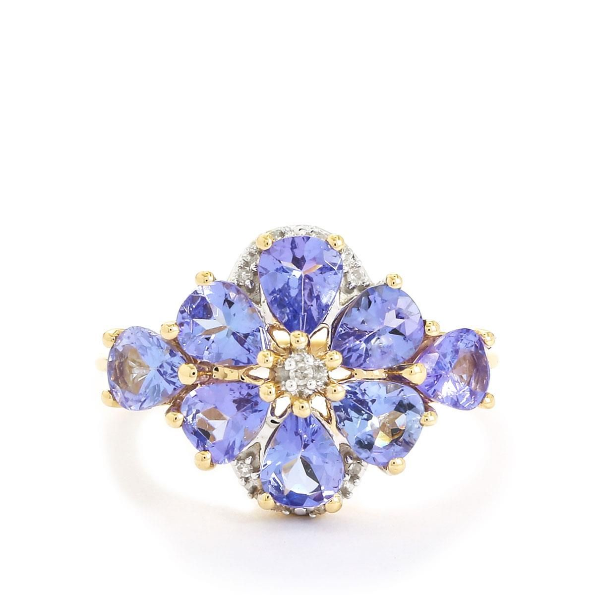 A gorgeous Ring from the Jacque Christie collection, made of 9K Gold featuring 2.38cts of amazing AA clarity Tanzanite and Diamonds.