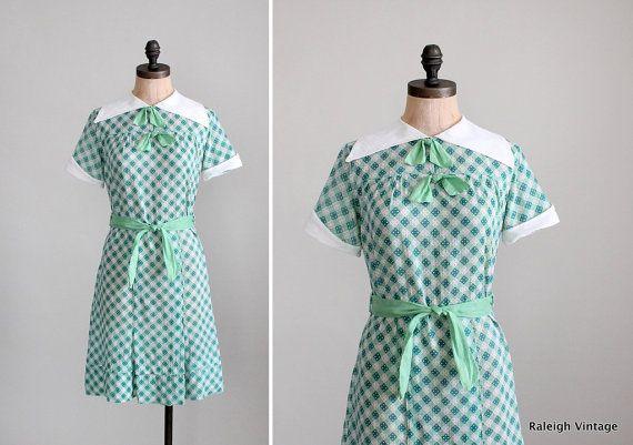 Hey, diesen tollen Etsy-Artikel fand ich bei https://www.etsy.com/de/listing/123734455/vintage-1930s-dress-30s-green-check
