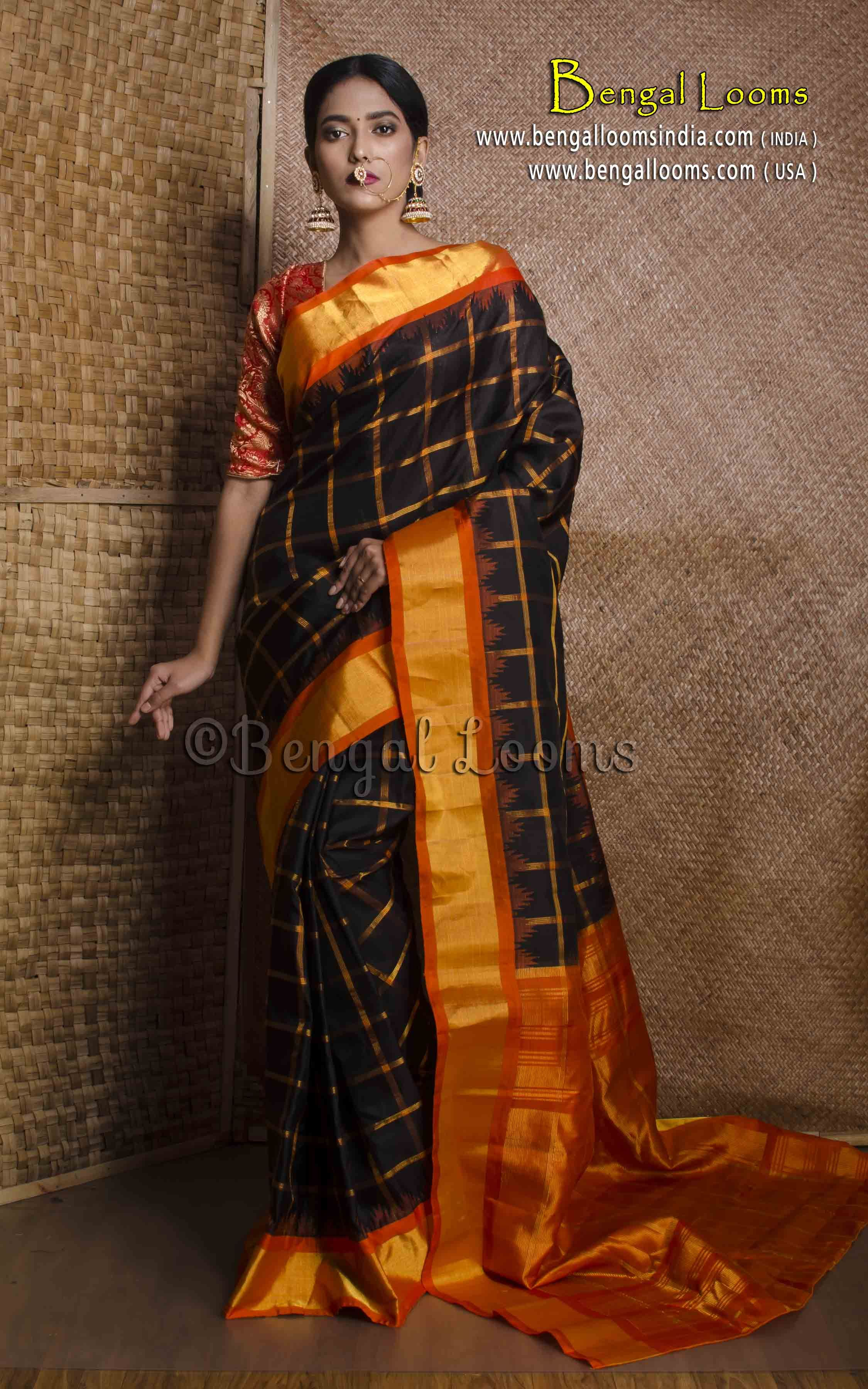 f81478ce93 Pure Handloom Checks Gadwal Silk Saree in Black and Orange | Gadwal ...