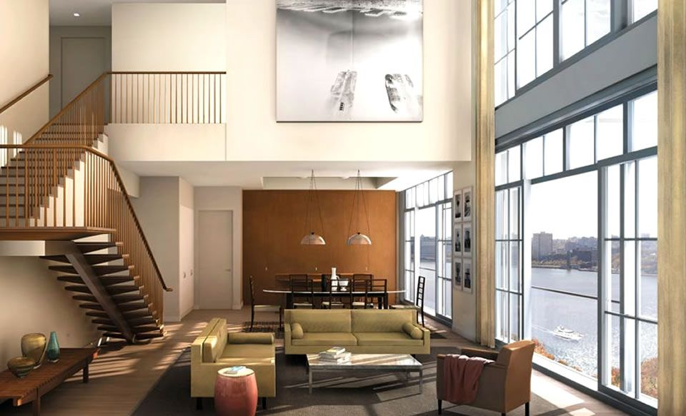 Modern Living Room Interior Design Of 200 Eleventh Avenue Residential Apartment Downtown Manhattan Nyc
