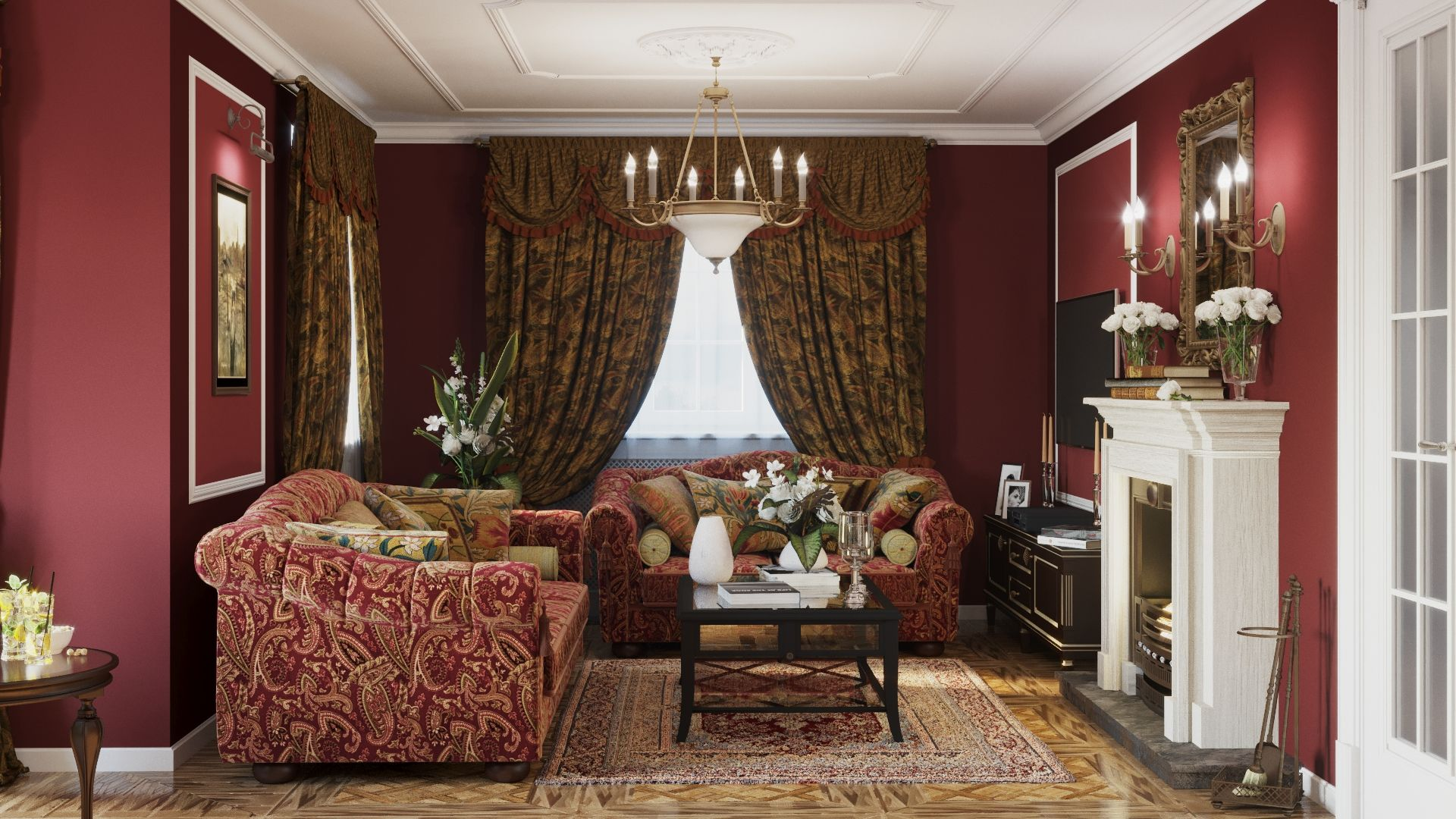 red luxury living room in russian interior design stylered luxury living room in russian interior design style