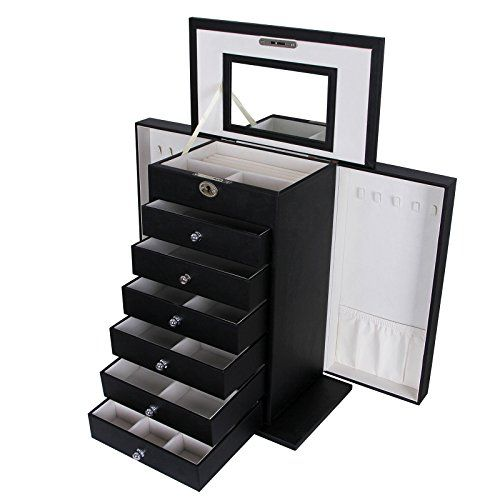 Songmics Black Leather Jewelry Box Cabinet Watch Storage Case