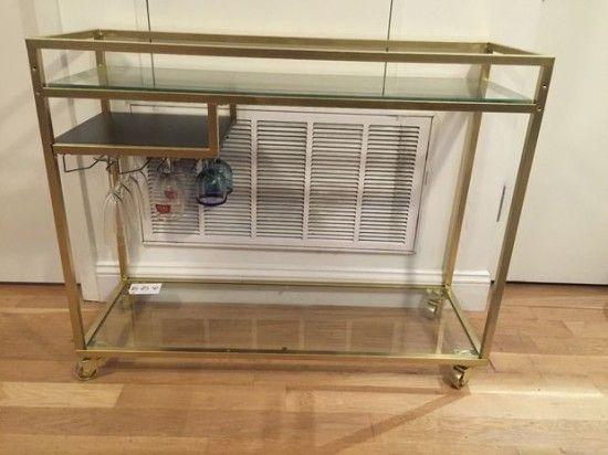 Ikea vittsjo laptop table turned into classy gold bar cart