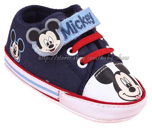 Infant Baby Boy Blue Mickey  Mouse Crib Shoes Size 0-6 6-12 12-18 Months