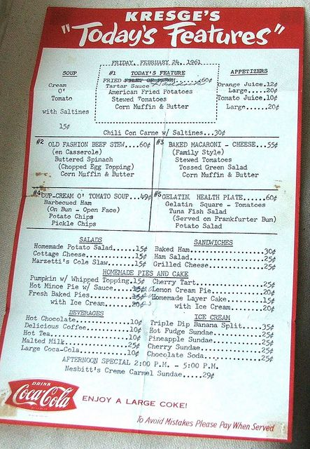 Kresges Back In The Day Was A Great Place To Buy What Wed Low End Five And Dime Style Jewelry Today Heres An Old Menu From Joan Williams Of Lil