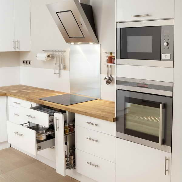 Cuisine design blanche brillante style scandinave  implantation en
