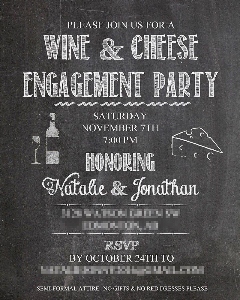 Wine & Cheese Engagement Party Invitation | my dripp | Pinterest ...