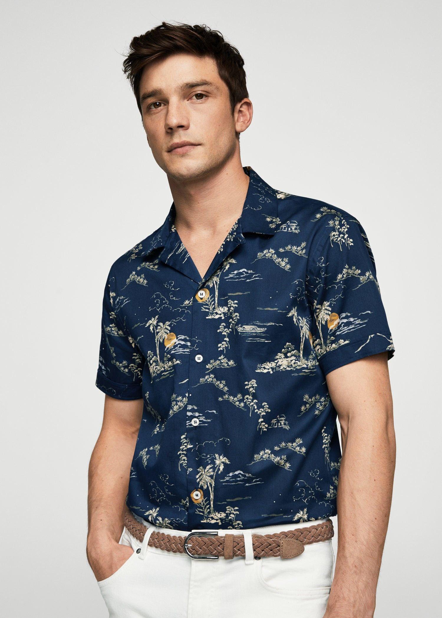 61312ab4a8 Mango Regular-Fit Tropical Print Shirt - Men