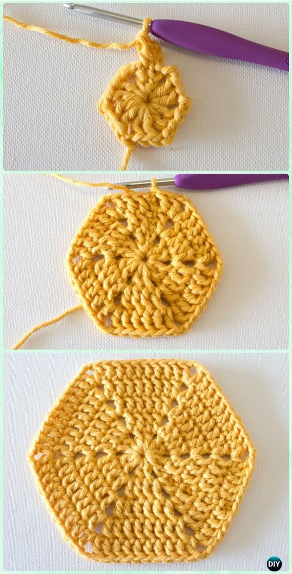 Crochet Basic Hexagon Motif Free Pattern - Crochet Hexagon Motif ...