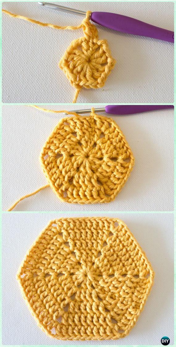 Crochet Hexagon Motif Free Patterns | Crochet patrones, Las modelos ...