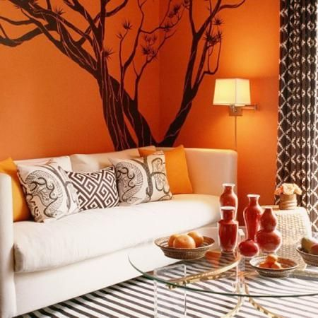 Orange Decorating Ideas Selecting Colour Schemes Orange Decor Tree Wall Decal Decor