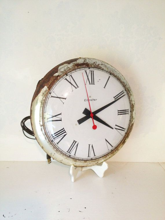 silver wall vintage clock timer