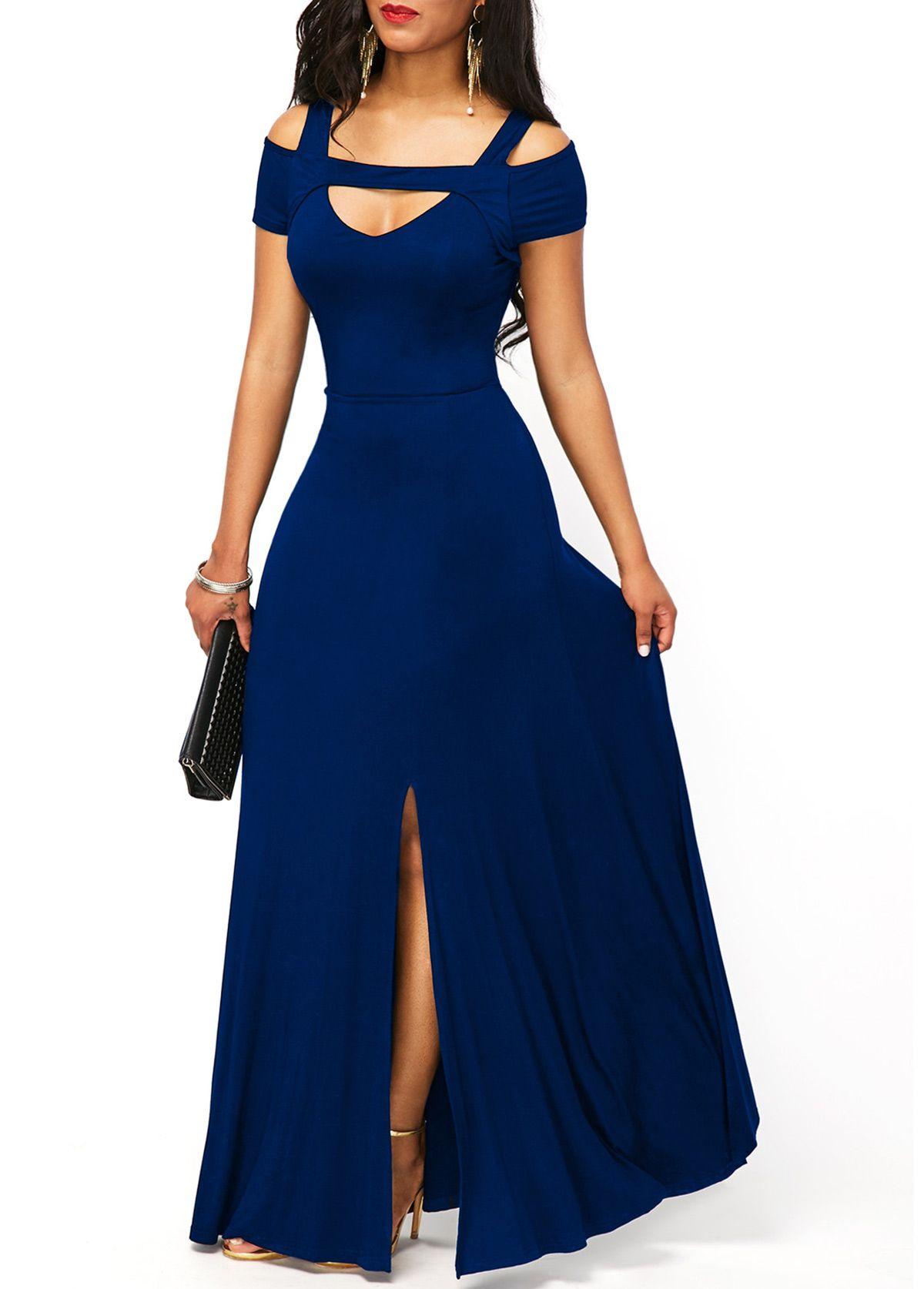 Stappy cold shoulder front slit dress front slit dress cold