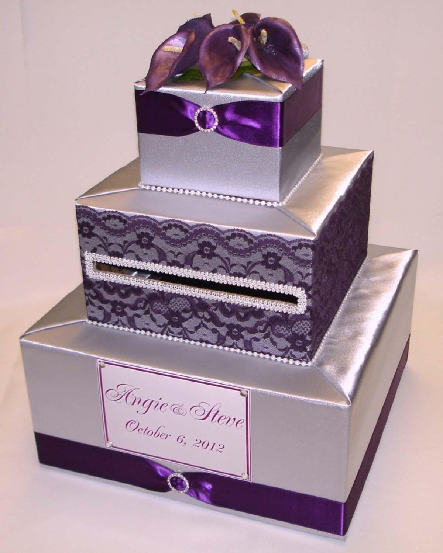 Silver And Royal Purple Calla Lily Card Box