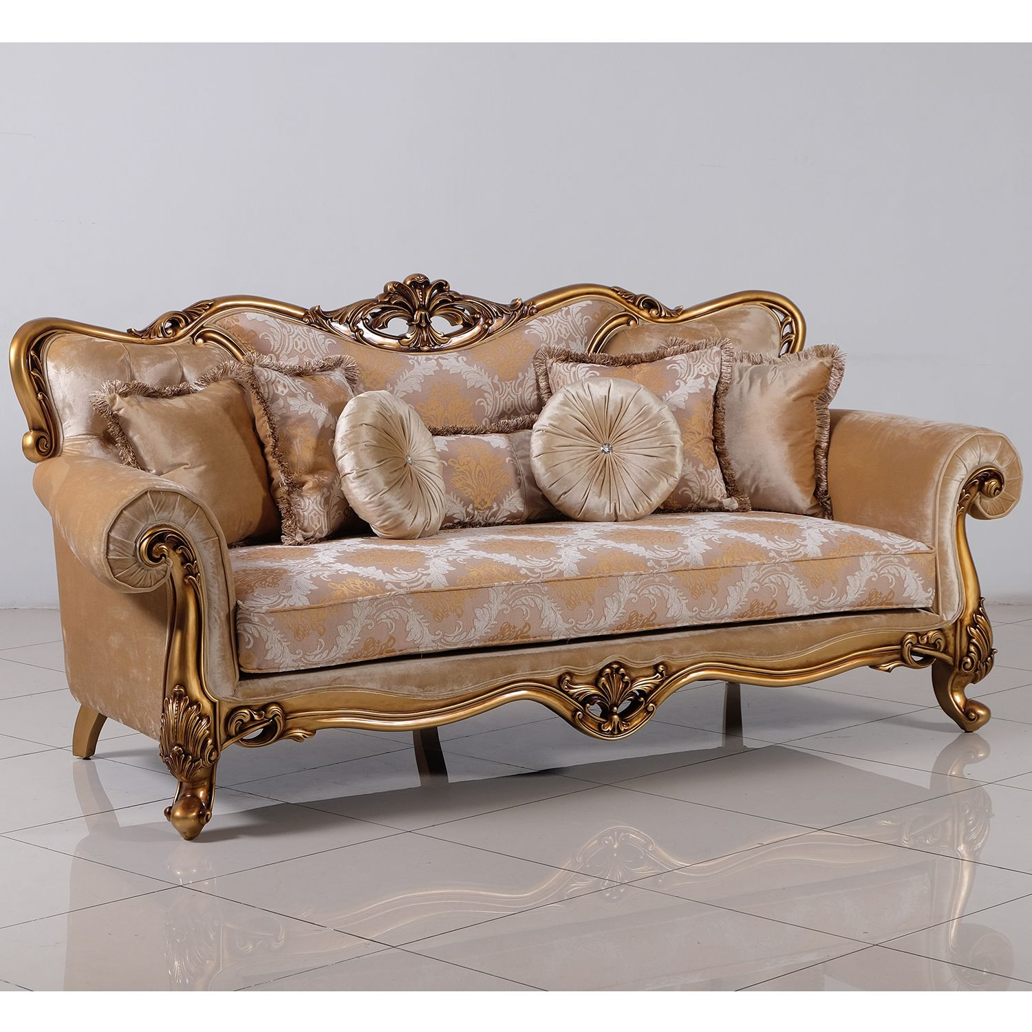 Grand European Luxury Furniture 4798 S Cleopatra Sofa Fabric Carved Golden Finish Mahogany Luxury Furniture Furniture Luxury Sofa