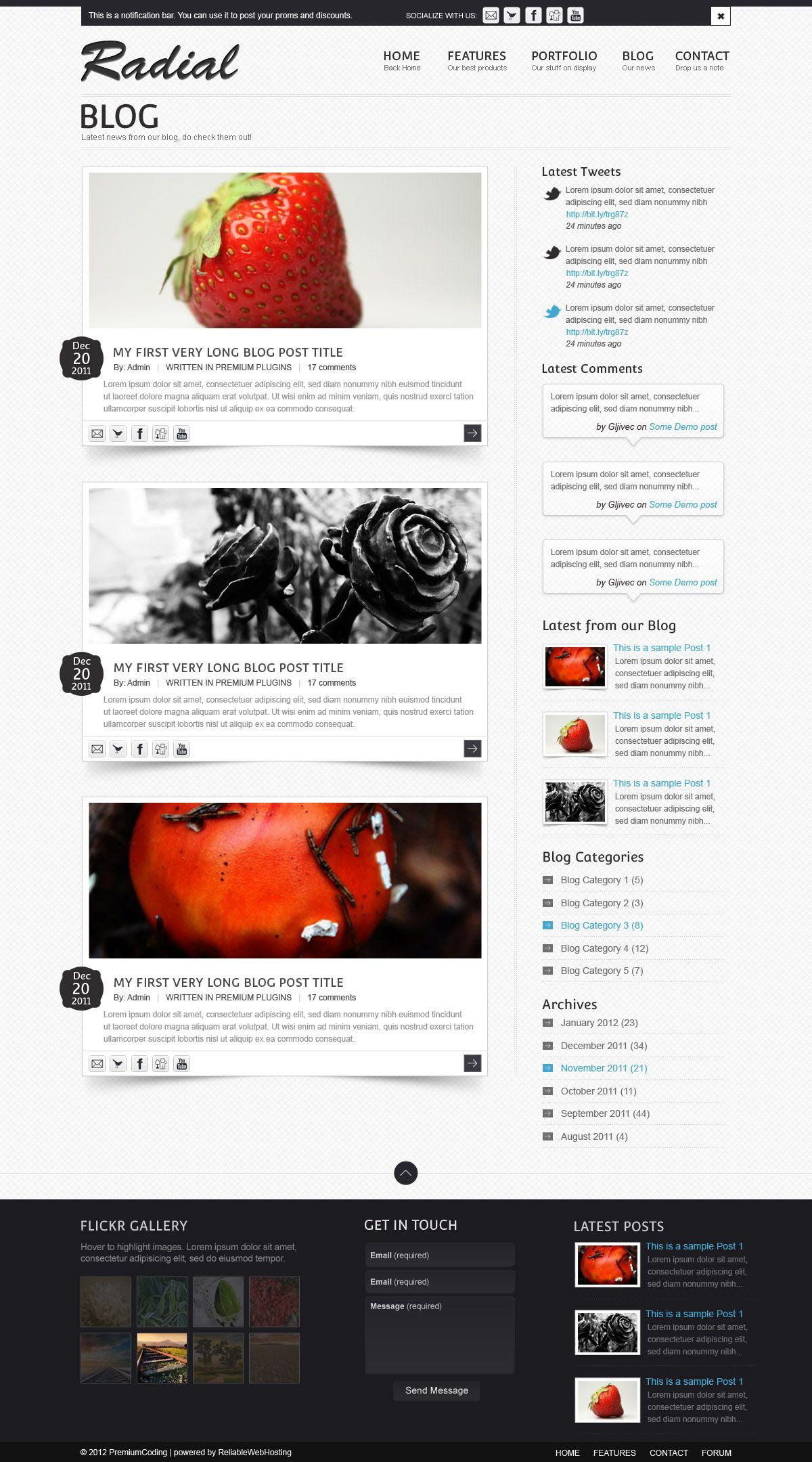 freebie radial blog site template psd digitalt design