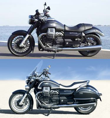 The Custom (top) and Touring (bottom) variants of the 2013 Moto Guzzi California 1400.