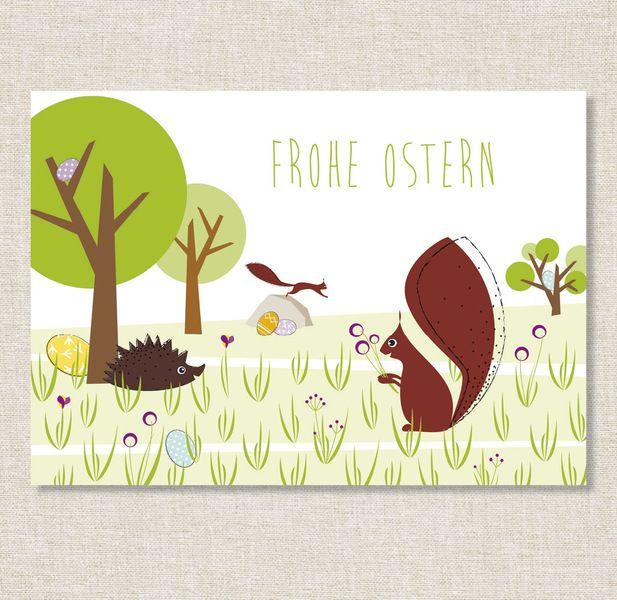 Kirschzweige Ostern Zum Blühen Bringen : postkarte 39 frohe ostern igel eichh rnchen 39 von ~ A.2002-acura-tl-radio.info Haus und Dekorationen