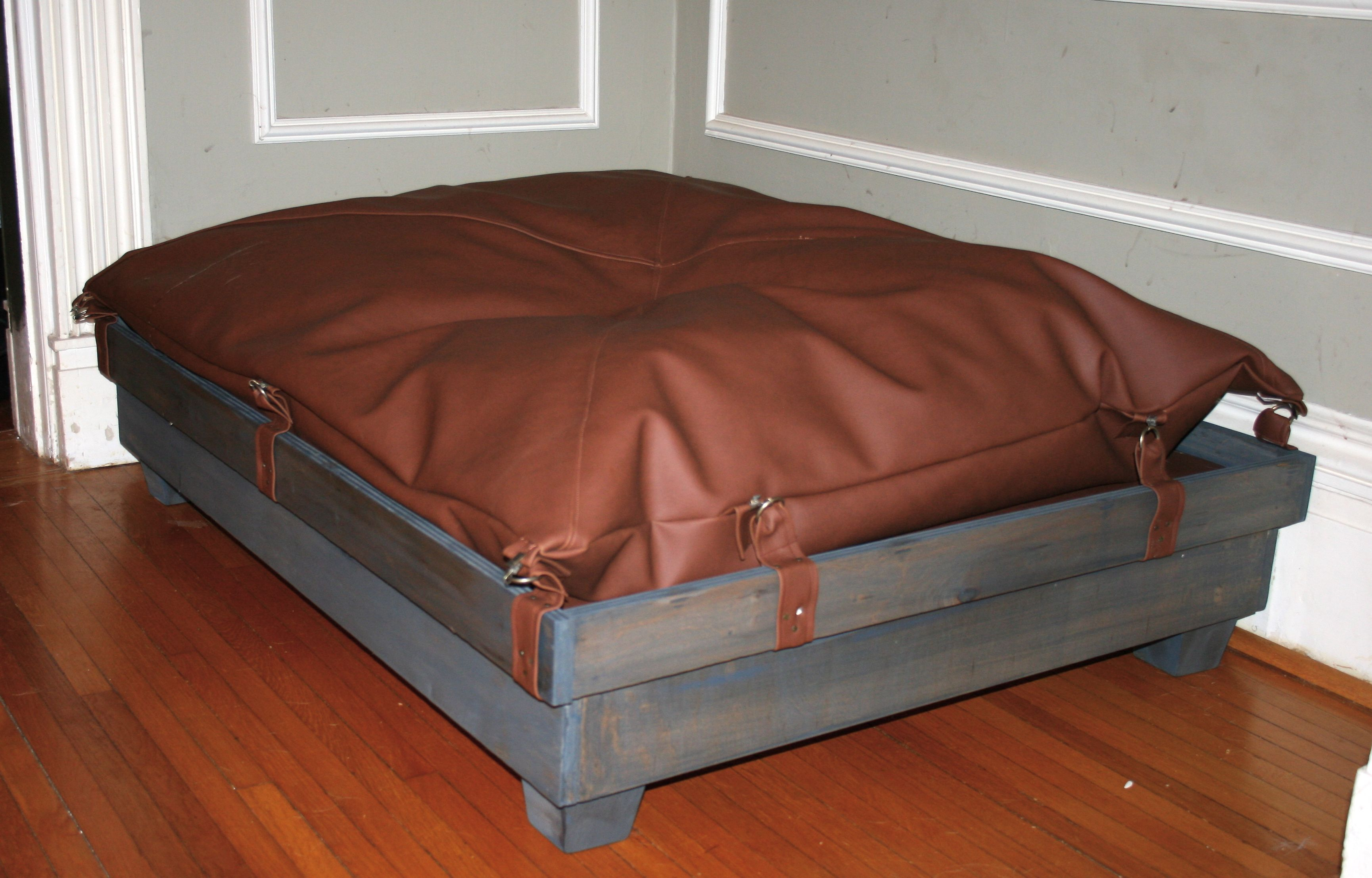Extra large tray styled dog bed with pillow top. Diy dog