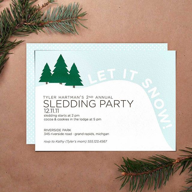Sledding Party Invitation Winter Party Snowman Birthday Parties
