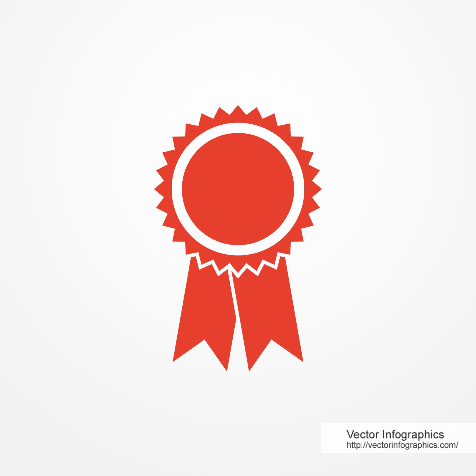Red badge, free vector