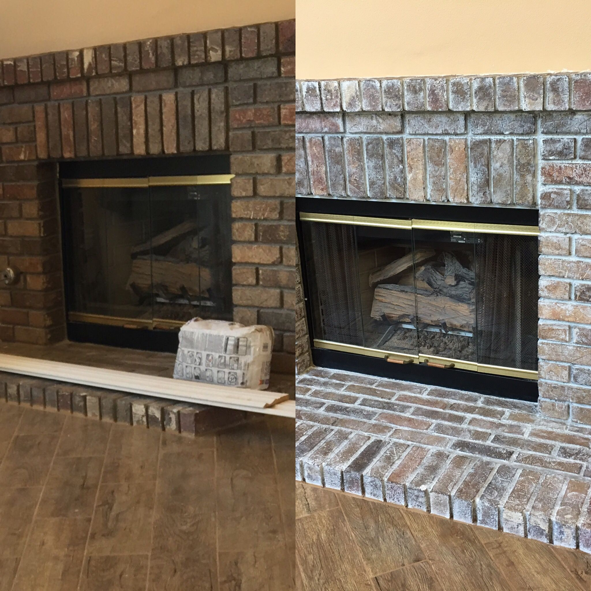 White Wash Fireplace With Milk Paint Before And After Super Easy White Wash Fireplace Diy Home Interior Home Interior Design
