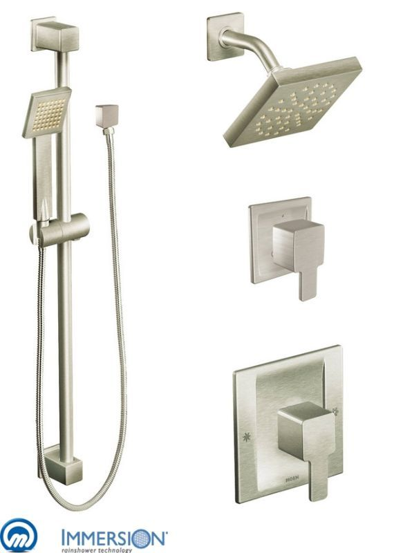 Moen 825 Posi-Temp Shower System with Rain Shower Diverter and Hand ...