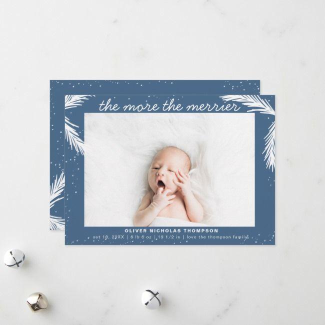 modern the more the merrier boy birth announcement